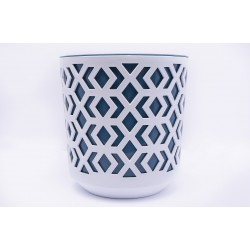 Plant Pots Aztek White+Navy Blue