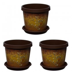 Set of 3 Terracotta Branch Keramo Flower Pot