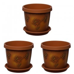 Set of 3 Chocolate Map Keramo Flower Pot