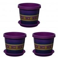 Set of 3 Violet Keramo Flower Pot
