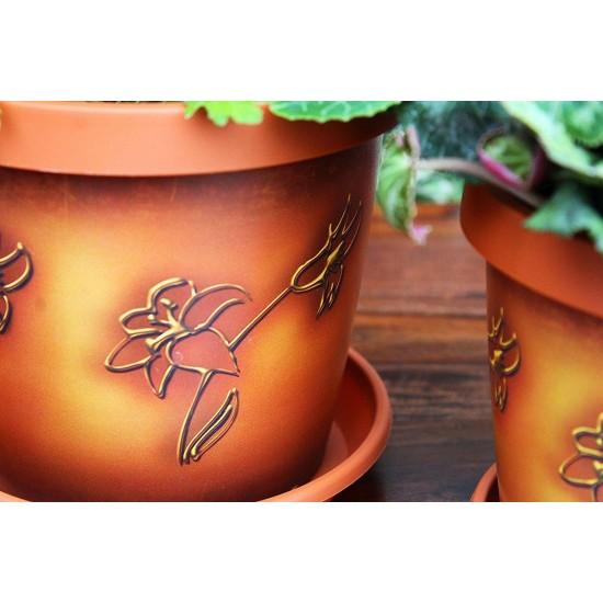Set of 3 Chocolate Map Keramo Flower Pot