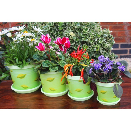 Set of 3 Pistachio  Keramo Flower Pot