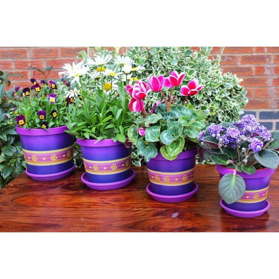 Set of 3 Violet Keramo Flower Pot