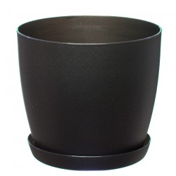 Black  Aga Mat Flower Pot with Saucer Tray