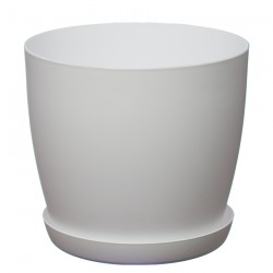 White Pastel Aga Mat Flower Pot with Saucer Tray