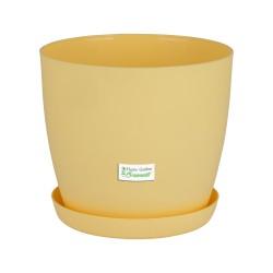 Pastel Yellow Aga Mat Flower Pot with Saucer Tray