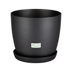 Black  Aga Mat Flower Pot with Saucer Tray