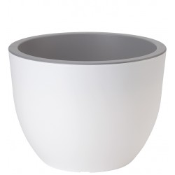 Muna Plant Pots Round white + concrete
